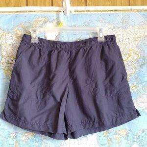 Columbia Blue Nylon Elastic Waist Pocket Shorts M
